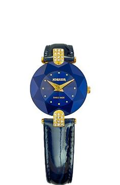 Jowissa Women's J5.011.S Facet Strass Gold PVD Dimensional Glass Blue Leather Rhinestone Watch Jowissa. $220.15. Tempered mineral glass with star cut. Blue patent leather band. Crystal filled lugs. Blue dial with gold tone indexes. Ronda 762 movement. Save 15% Off!