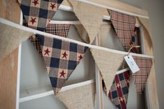 Americana Fabric Bunting, Plaid, Red and Navy Blue, Burlap, Fireplace Decor, Country decor, Living Room, Christmas Hanging, by Lot62designs on Etsy
