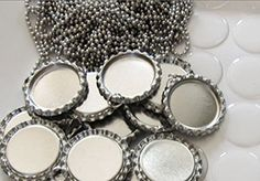 50 DIY Bottle cap necklace kit (includes 50 flattened bottle caps with rings, 50 epoxy stickers, 50 20 inch Ball chain necklaces) * Want to know more, click on the image.