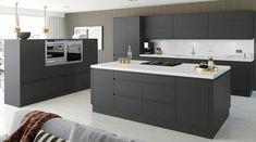 Cuisine Design Pierre Gris Anthracite Cuisine Design Sans Poignées - Cuisine grise plan de travail blanc