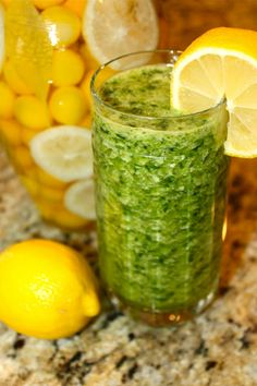 Pineapple, Spinach, and Ginger De-Tox Green Smoothie    1 1/4 cup pineapple juice  juice from 1/4 lemon  handful fresh spinach leaves  2 slices fresh pineapple  1/4 tsp. fresh grated ginger    Place in a juicer or blender/food processor.  Give it a whirl.  Pour in glass.  Drink up.  Enjoy results!