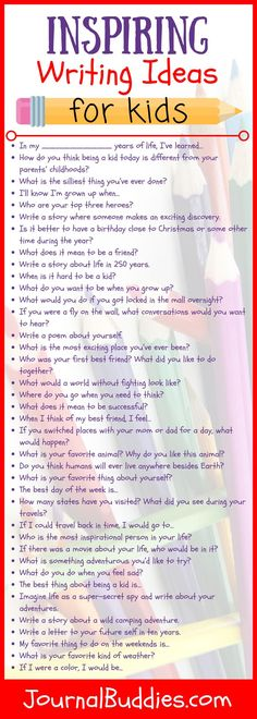 These 58 new writing ideas for kids ages will enthuse students and get them excited about writing. There's something for everyone here, with questions ranging from silly daydreams about being a super-secret spy to deeper thoughts about sources of insp Journal Prompts For Kids, Writing Prompts For Kids, Kids Writing, Teaching Writing, Writing Activities, Creative Writing, Writing A Book, Writing Tips, Car Activities