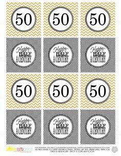 Printable 50th Birthday Happy Half A Century Gold birthday