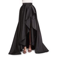 Monique Lhuillier High-Waist Draped Ball Skirt ($3,445) ❤ liked on Polyvore featuring skirts, black, black ball skirt, high waisted long skirt, high waisted maxi skirt, floor length skirt and slit maxi skirt