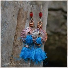 Buttoned Up, Copper button and Turquoise Blue Sari Silk with a touch of Coral Red. KristiBowmanDesign