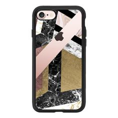 Abstract chic rose gold black white marble - iPhone 7 Case And Cover (£31) ❤ liked on Polyvore featuring accessories, tech accessories, iphone case, iphone cases, iphone cover case, black and white iphone case, clear iphone case and marble iphone case
