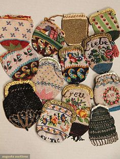 Beaded tiny purses, 1830-1880; All worked in multi-color glass or glass and metallic beads: Nine with hinged frames, either brass or cut steel; three missing frame or drawstring top; together with one1 gold metal bead drawstring crochet purse