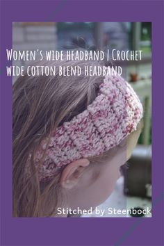 Women's wide summer headband. Perfect for the mom on the go. it's tapered ends and elastic ensure a snug but secure fit. The cotton acrylic blend yarn is breathable and light weight. 3 1/2 inches wide by 18 inches long. Summer Headbands, Advertise Your Business, Wide Headband, Business Products, Ear Warmers, Beautiful Crochet, Snug, Crochet Hats, Diy Projects