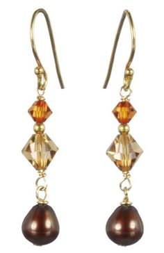 Gold Plated Sterling Silver Crystallized Swarovski Elements with Chocolate Freshwater Cultured Pearl Drop Earrings - Rellek Jewelry