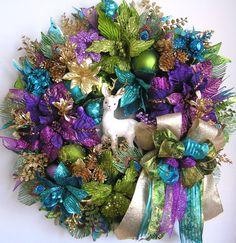 Christmas Wreath Christmas Reindeer Wreath Holiday by WreathbyHH