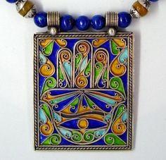 Moroccan Enameled Hamsa Design box pendant necklace by SilkRoadJewelry