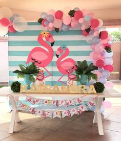 Flamingo back drop Pink Flamingo Party, Flamingo Birthday, Luau Birthday, Aloha Party, Luau Party, Tropical Party, Birthday Party Decorations, Let's Flamingle, Images