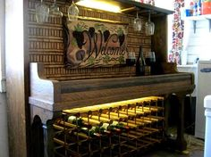 Use an old piano, some wine corks and your own creativity to create a bar that ads tons of character to your home!