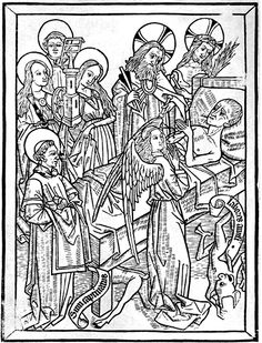 "The Art of Dying, ""Ars Moriendi"" 1466 (Flemish) Woodcut 1st example of printed Propaganda Priests used these books to inspire their members to deal with death with dignity.  The eleventh woodcut shows the happy end—an angel ready to receive the expired soul in the shape of a small naked child and lead into God's heavenly splendor."