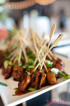 For a little Asian flair, try our hoisen lime chicken skewers! Ravishing Radish Catering, Barbie Hull Photography.