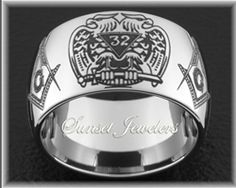 Freemason Tungsten Wedding Ring with 32 Degee Double Eagle & Compass & Square Emblems