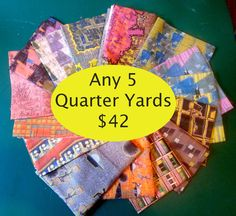 Perfect crafty gift!!!  Check it out Indie Designer Cotton Quilt Craft fabric fat by MariposaTextiles, $42.00