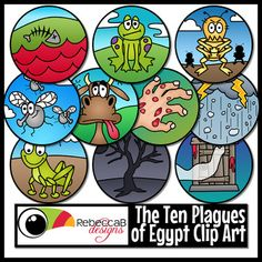 Ten Plagues of Egypt Clip Art contains 10 circular images in color and 10 black and white.   The images represent each of the Ten Plagues:- Water to Blood- Frogs- Lice- Flies- Livestock Disease- Boils- Hail and Lightning- Locusts- Darkness- Blood on the Door (Death of Firstborn)Each image is approximately 5 inches in diameter and can be resized up or down.
