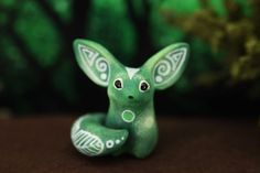 1.5 inch in height, velvet clay, acrylic. I can send it in a way as it is now (Without changes), or can draw on the trees as the Moon Wanderers (With tree patterns). It wi... #fennec