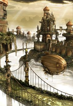 Take a look at this elegant fantasy environment, with a rather whimsical airship to boot! Illustration by Priscilla, http://priss-nqm.deviantart.com/art/Environment-110244727