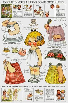 Uncut Dolly Dingle Paper Dolls by Grace G Drayton - Pack 1