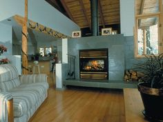 Gorgeous multisided wood fireplace!