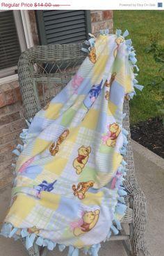 ON SALE Winnie the Pooh Blanket Tie Fringe Blanket by CraftyMom75, $9.80