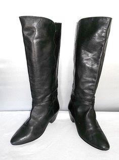 bd728f95f88 Women s Joseph Black Leather Dress Fashion Slip on Knee High Boots Size 8 B