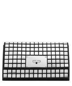 Natalia black tile leather clutch bag Sale - Michael Kors Sale