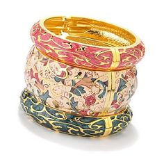 Set of Three Hand Painted Champleve Hinged Bangle Bracelets. Cloisonné Bangles