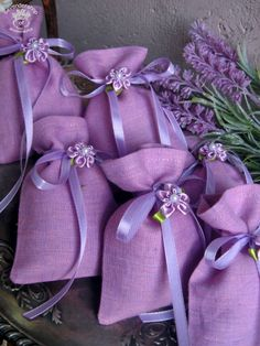 lavender sachet Lavender Crafts, Lavender Wreath, Lavender Bags, Lavender Sachets, Lavender Cottage, All Things Purple, Purple Aesthetic, Gift Bags, Wedding Accessories