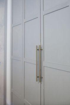 Folding Closet Doors, Diy Closet Doors, Mirror Closet Doors, Closet Door Makeover, Wardrobe Doors, Ikea Wardrobe, Hall Closet, Cheap Closet, Simple Closet