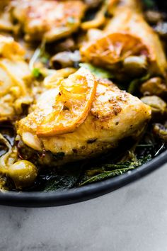 one pan lemon sage baked chicken with olives. Paleo, whole 30