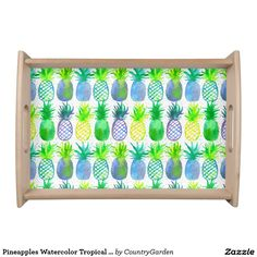 Pineapples Watercolor Tropical Fruit Serving Tray