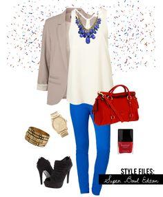 Cream cami, blue pants, tan blazer black platform booties, red handbag, and gold or silver accessories.