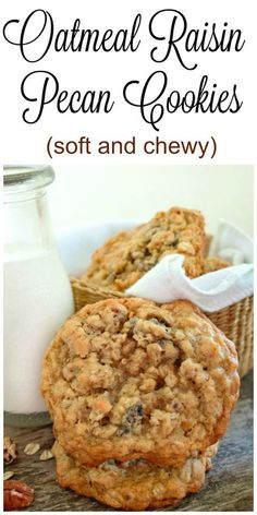 Soft and Chewy Oatmeal Raisin Pecan Cookies will quickly become your family's favorite cookie! A soft and chewy cookie loaded with raisins and pecans. Brownie Cookies, Pecan Cookies, Yummy Cookies, Super Cookies, Cookies Soft, Kiss Cookies, Pecan Pies, Homemade Cookies, Cookie Recipes