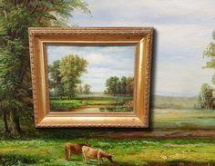 Sommerlandschaft mit Kühen. Orig. Ölgemälde schöne Miniaturmalerei sign. LUKAS