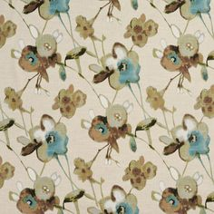 Aqua Brown and Beige Floral and Flower Print by KoviHomeDecor