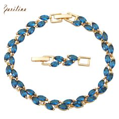 Individual Design High quality suppliers Gold plated Bracelets Blue zircon stone fashion jewelry 20cm 7.87inch 13g B007