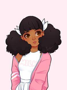Anime, drawing, and kawaii image Art Black Love, Black Girl Art, Black Girls, Cartoon Kunst, Cartoon Art, Pretty Art, Cute Art, Art Kawaii, Black Girl Cartoon