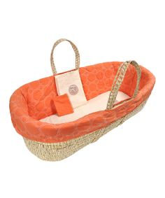 Take a look at the Orange Quilted Moses Basket Set on #zulily today!