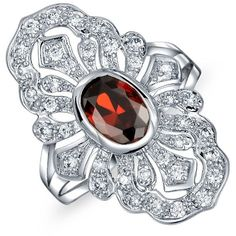 Bling Jewelry Bling Jewelry Rhodium Plated Art Deco Style Cubic... (53 BRL) ❤ liked on Polyvore featuring jewelry, rings, red, cubic zirconia band rings, deco ring, red ring, vintage rings and vintage jewellery