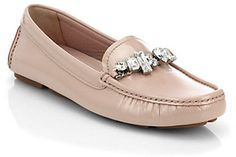 $595, Pink Loafers: Swarovski Crystal Patent Leather Loafers by Miu Miu. Sold by Saks Fifth Avenue. Click for more info: http://lookastic.com/women/shop_items/12352/redirect