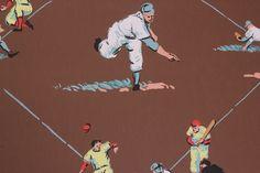 Rosie's Vintage Wallpaper - 1950's Vintage Children's Wallpaper Baseball, $145.00 (http://www.rosiesvintagewallpaper.com/1950s-vintage-childrens-wallpaper-baseball/)