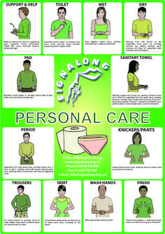 Personal Care Signs Poster - BSL (British Sign Language) Tap the link to check out fidgets and sensory toys! Simple Sign Language, Sign Language Chart, Sign Language For Kids, Sign Language Phrases, Sign Language Alphabet, Learn Sign Language, British Sign Language, Deaf Language, Sign Language Interpreter