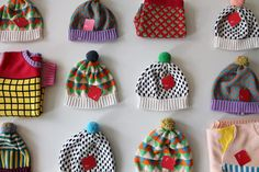 Annie Larson's colourful, graphic knitwear.  Thanks, @Lolly W.