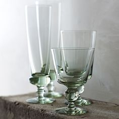 Swazi Recycled Footed Glassware - Set of 4 | Serena & Lily in SMALL & LARGE TUMBLERS TOO