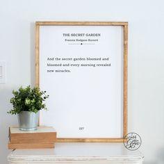 The Secret Garden Quote Art, The Secret Garden Book Page Sign, Large Printable Literature Print, DIY - Modern Secret Garden Quotes, Secret Garden Book, Secret Quotes, Sign Quotes, Art Quotes, Quote Art, Raised Garden Beds, Raised Beds, Organic Gardening Magazine