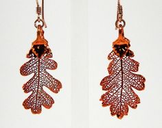Iridescent Copper Oak Leaf Earrings by MaryMorrisJewelry on Etsy, $28.00
