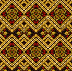 Stained Glass Harlequin Argyle Diamonds Red and Gold Tiles fabric by ninniku on Spoonflower - custom fabric